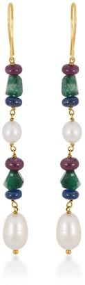 Rakam Jewellery Emerald, Ruby, Sapphire & Pearl Drop Earrings In 18K Yellow Gold