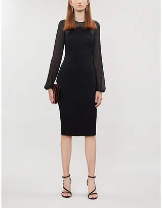 Victoria Beckham Moon blouson-sleeve stretch-ponté and crepe midi dress