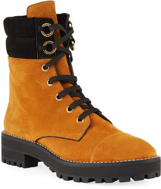 Stuart Weitzman Lexy Suede Lace-Up Hiker Boots