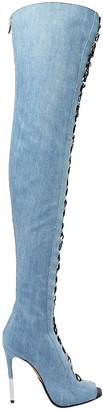 Balmain Campbell Lace-up Faded Denim Thigh Boots