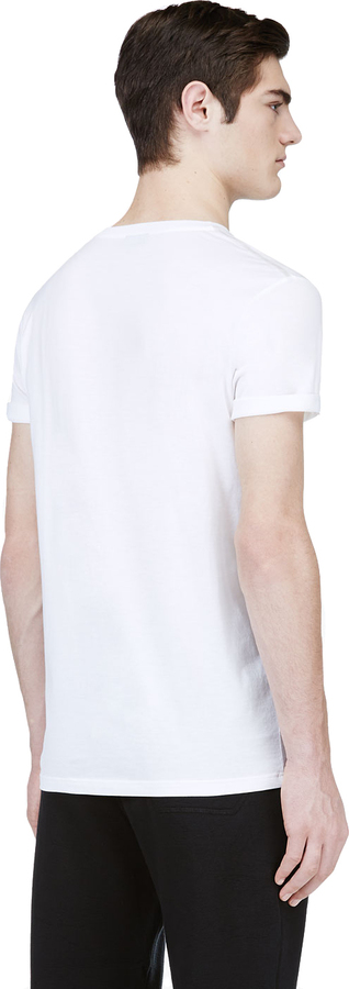 Lanvin White Windowpane Graphic T-Shirt
