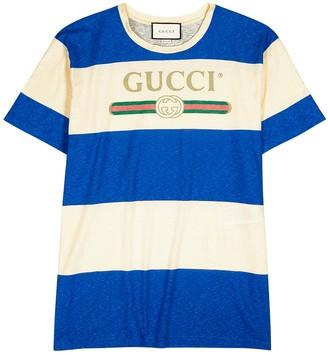 Gucci Striped logo-print cotton-blend T-shirt