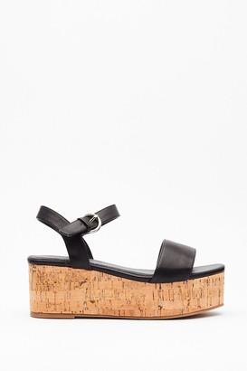 Nasty Gal Womens Step This Way Faux Leather Platform Sandals - Black