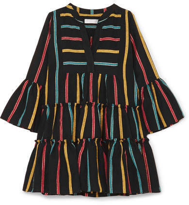 Caroline Constas Lyssa Striped Cotton-blend Mini Dress - Black
