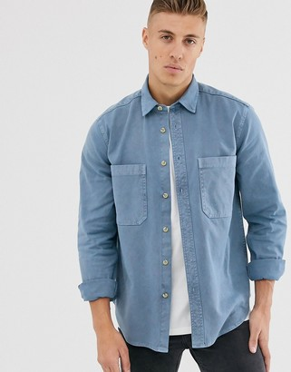 Asos Design DESIGN overshirt with double pockets in washed blue
