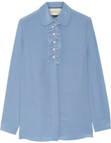 Gucci Faux Pearl-embellished Ruffle-trimed Silk Crepe De Chine Blouse - Sky blue