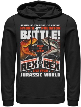 Victoria's Secret Licensed Character Men's Jurassic World T-Rex I-Rex Battle Poster Pullover Graphic Hoodie
