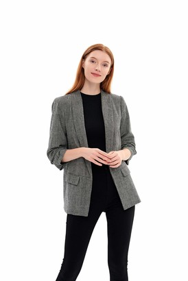 Charis Allure Women's Open Front Blazer Lapel Collar Cardigan Suits Long Sleeves Casual Jacket