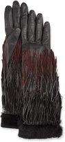 Agnelle Zelda Leather Fringe Gloves, Black