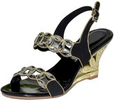Vibur Seven Women's Copper Coin Rhinestone Strap Sheepskin Wedge Sandals