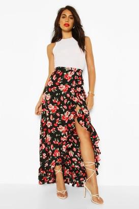 boohoo Floral Print Ruffle Hem Maxi Skirt