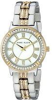 Anne Klein Women's AK/2019MPTT Swarovski Crystal Accented Two-Tone Bracelet Watch