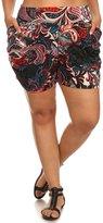 Simplicity Women's Print Plus Size Harem Shorts,Side Pockets, 7298_
