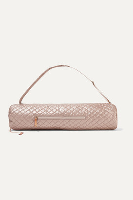 MZ Wallace Matt Leather-trimmed Metallic Quilted Shell Yoga Mat Bag - Pink