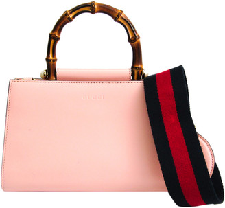 Gucci Light Pink/Navy Leather Mini Nymphaea Bamboo Top Handle Bag