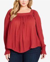 Jessica Simpson Trendy Plus Size Bailey Lace-Up Blouse