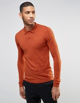 Asos Muscle Fit Knitted Polo in Rust