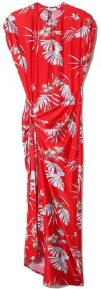 Paco Rabanne Side Knot Hawaiian Printed Dress in Red
