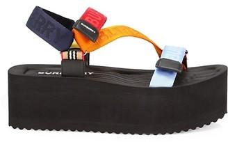 Burberry Patterson Colorblock Logo Flatform Sport Sandals