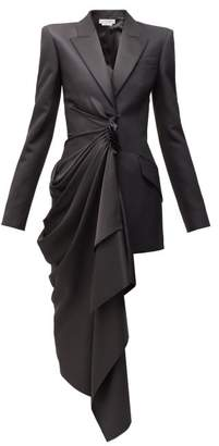 Alexander McQueen Draped Panel Satin And Crepe Blazer - Womens - Black