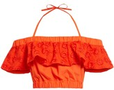 Fendi Broderie Anglaise Halterneck Crop Top - Womens - Orange