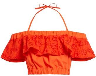 Fendi Broderie Anglaise Halterneck Crop Top - Womens - Orange