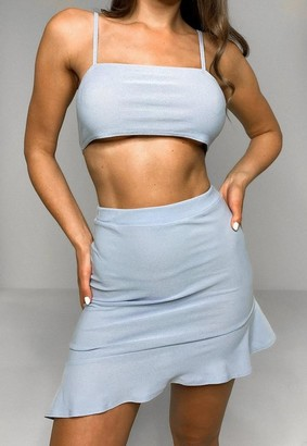Missguided Blue Cami Top And Mini Skirt Co Ord Set