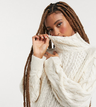 Reclaimed Vintage inspired high neck cable jumper in cream