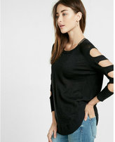 Express petite cut-out shoulder tunic sweater
