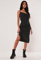 Missguided Black Polka Dot Cowl Neck Cami Slip Midi Dress