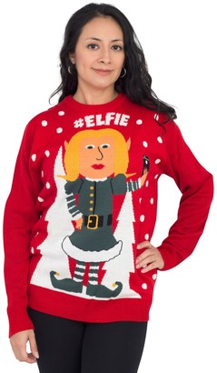 Ugly Sweater Company Ugly Christmas Sweater Hashtag Female Elfie Sweater