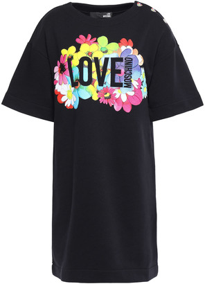 Love Moschino Snap-detailed Printed French Cotton-terry Mini Dress