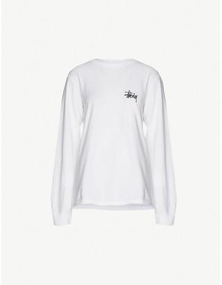 Stussy Logo-print long-sleeved cotton-jersey top