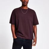 River Island Mens Dark Purple chest pocket boxy fit T-shirt