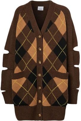 Burberry Cut-Out Detail Argyle Check Cardigan