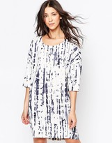 Ichi Digital Print 3/4 Sleeve Shift Dress