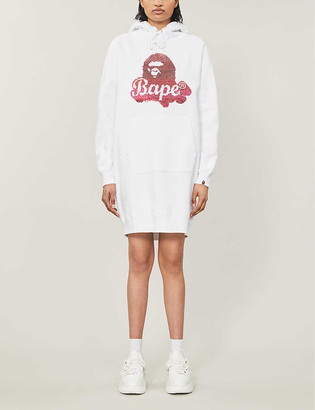 BAPE Logo-print sequin-embellished cotton-blend jersey hoody