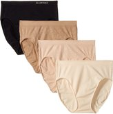 Ellen Tracy Women's 4 Pack Floral Jacquard Hi Cut Panty, White/Sun Beige/Mocha/Black