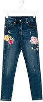 MonnaLisa floral embroidered distressed jeans
