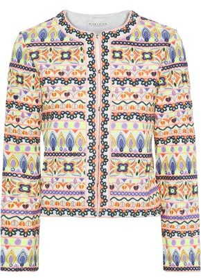 Alice + Olivia Kidman Cropped Embellished Woven Jacket