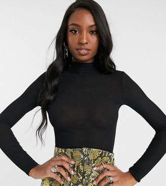 Topshop Tall mesh top with funnel neck in black
