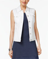 Style and Co Pocketed Denim Vest, Only at Macy's
