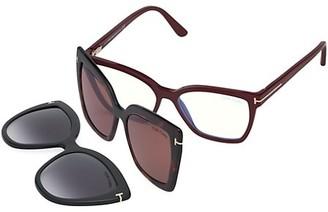 Tom Ford 53MM Fuso Blue Block Square Convertible Clip Sunglasses