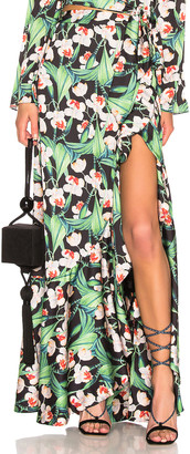 PatBO Printed Maxi Wrap Skirt in Black | FWRD