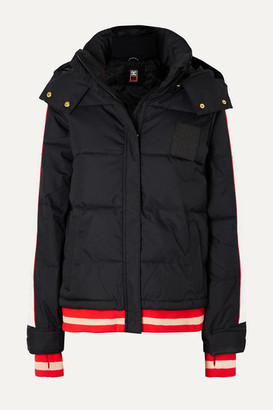 P.E Nation Dc Counterpunch Striped Hooded Quilted Ski Jacket - Black