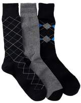 Cole Haan Argyle & Stripe Crew Socks - Pack of 3