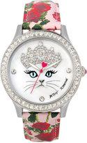 Betsey Johnson Women's Pink Rose Printed Imitation Leather Strap Watch 42mm BJ00131-79