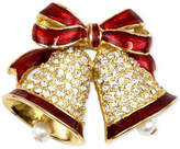 Charter Club Holiday Lane Gold-Tone Pave & Imitation Pearl Bells Brooch, Created for Macy's
