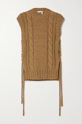 Chloé Lace-up Cable-knit Tank - Brown