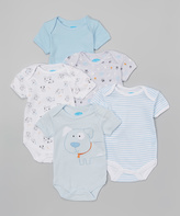 Bon Bebe Blue & White Doggy Bodysuits Set - Infant